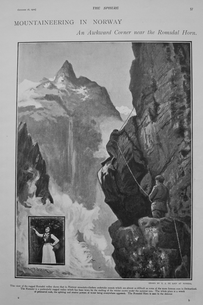 Mountaineering in Norway - An Awkward Corner near the Romsdal Horn. 1902