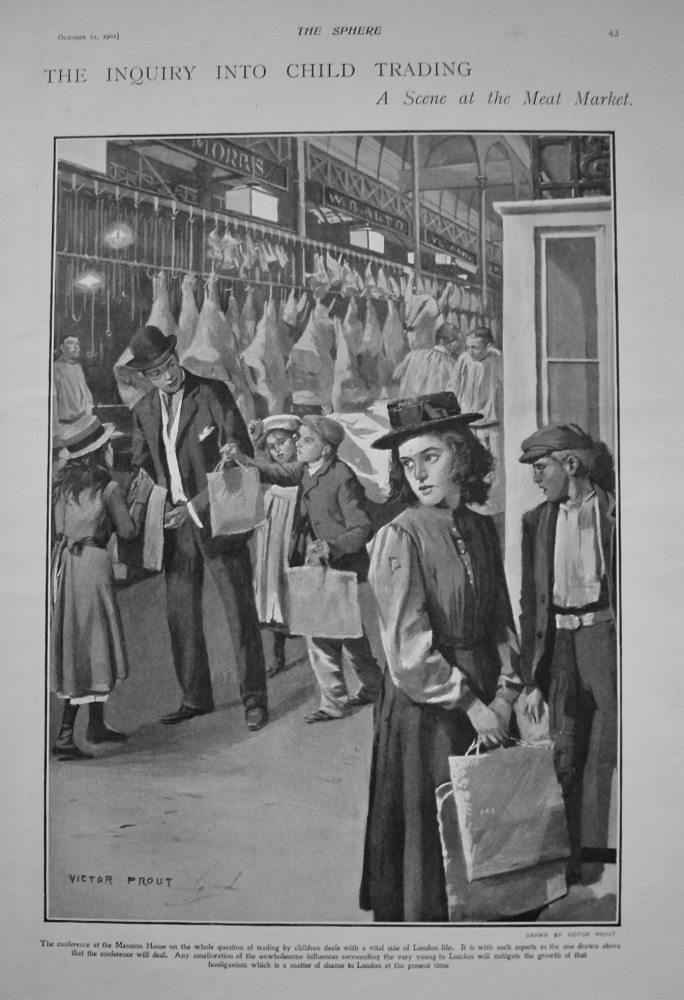 Inquiry into the Child Trading.- A Scene at the Meat Market. 1902