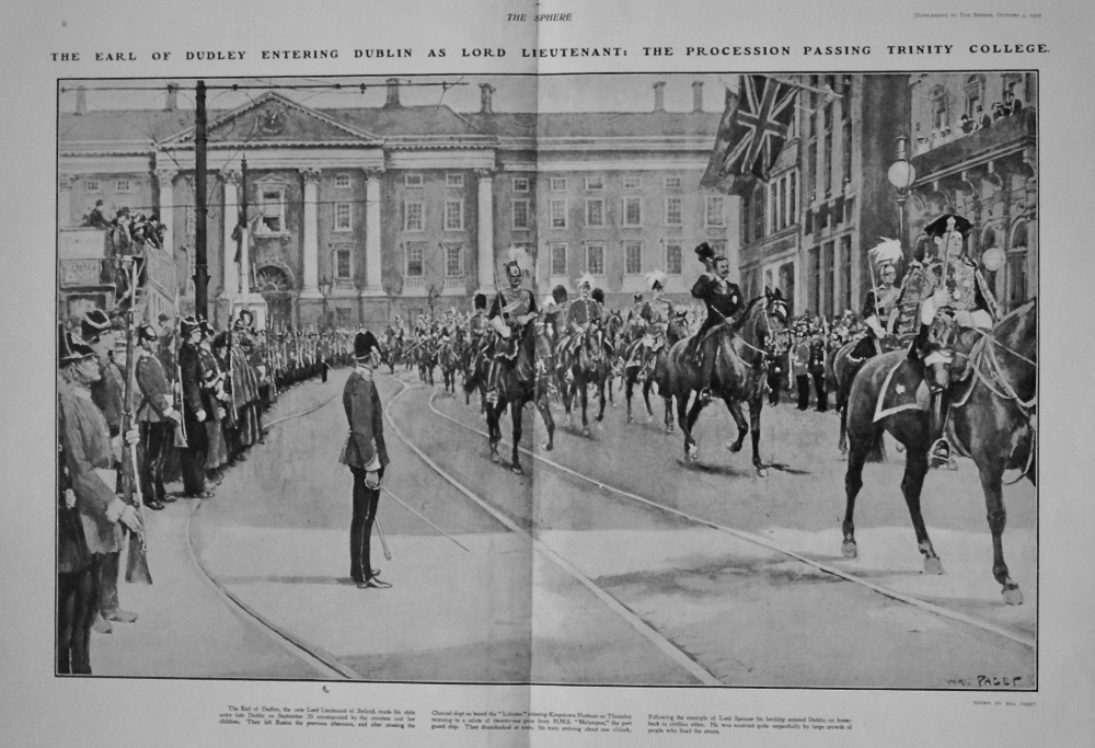 The Earl of Dudley Entering Dublin as Lord Lieutenant : The Procession Passing Trinity College. 1902