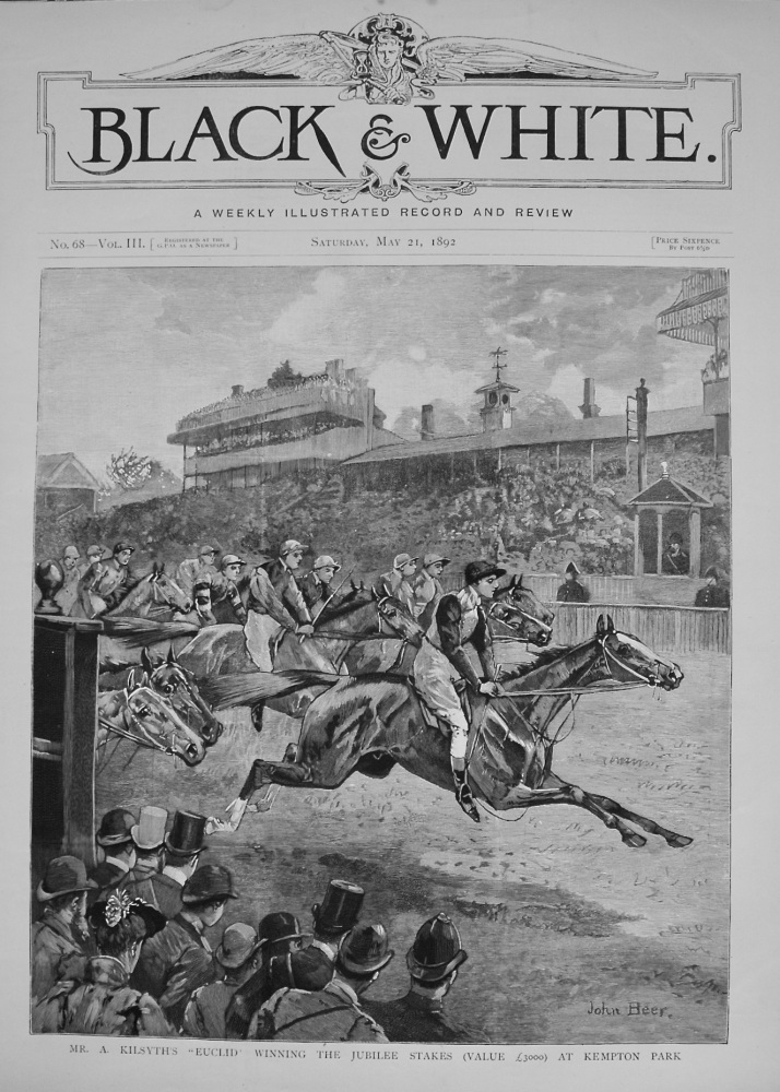 """Mr. A. Kilsyth's """"Euclid"""" winning the Jubilee Stakes (Value £3000) at Kempton Park. 1892"""