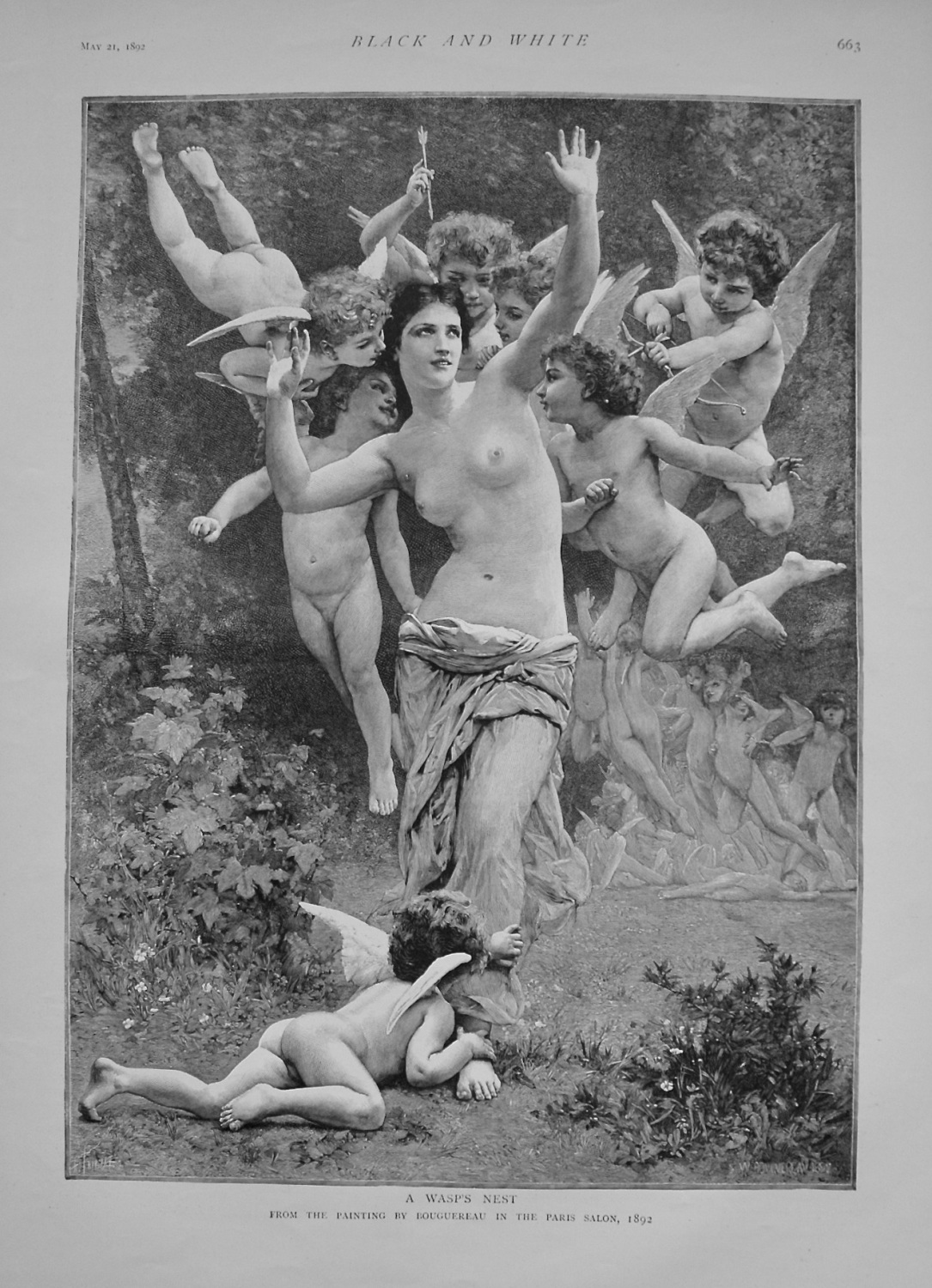 A Wasp's Nest. (From the Painting by Bouguereau in the Paris Salon) 1892