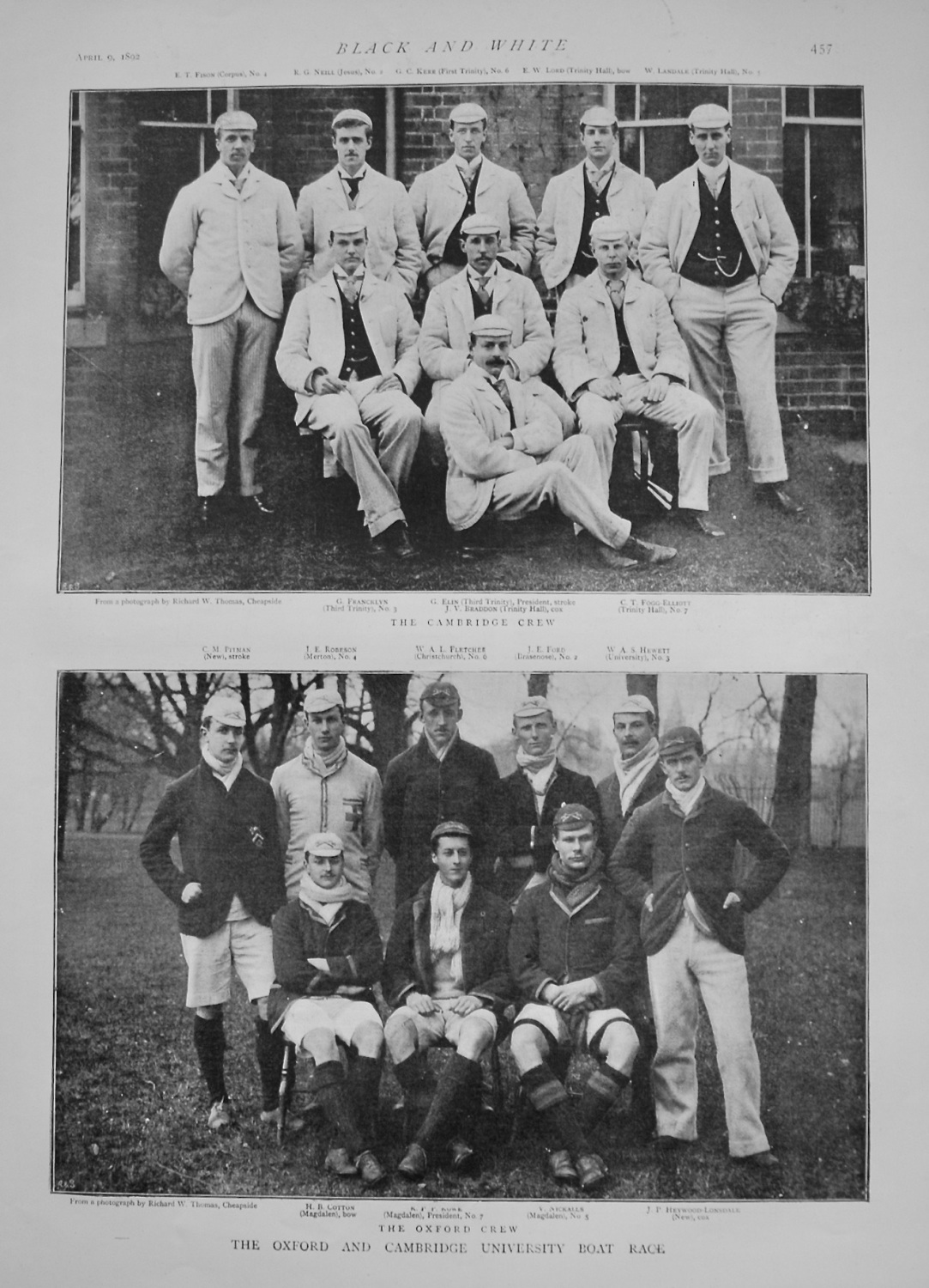 Oxford and Cambridge University Boat Race. 1892