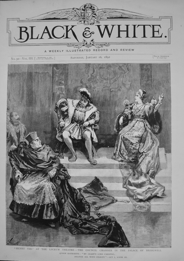 """Henry VIII."" at the Lyceum Theatre - The Council Chamber in the Palace of Bridewell. 1892"