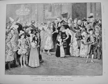 Juvenile Fancy Dress Ball at the Mansion House.- Procession of Children Passing the Lord Mayor and Lady Mayoress. 1892