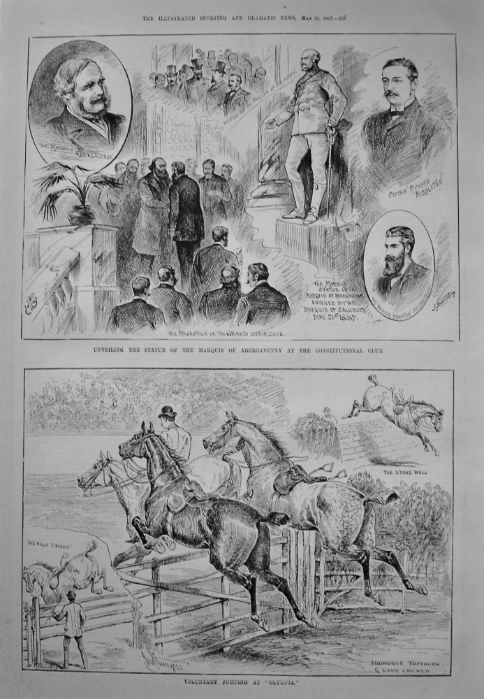 Unveiling the Statue of the Marquis of Abergavenny at the Constitutional Club. 1887