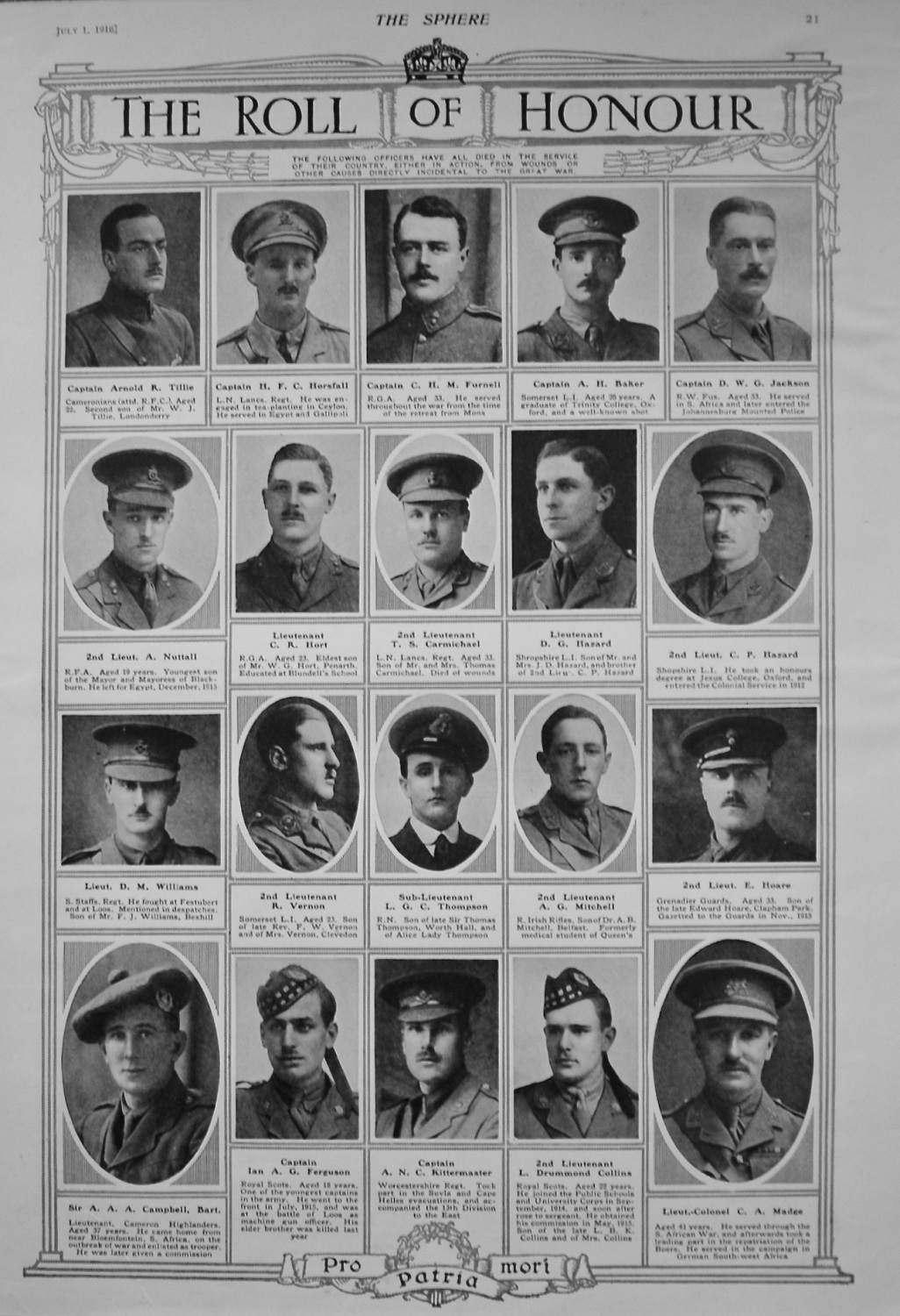The Roll of Honour. July 1st. 1916.