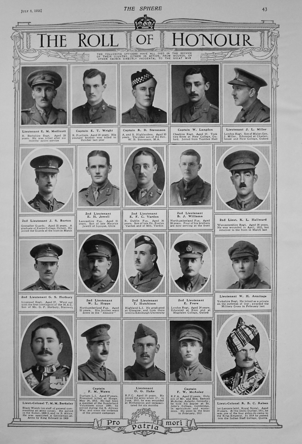 Roll of Honour. July 8th, 1916.