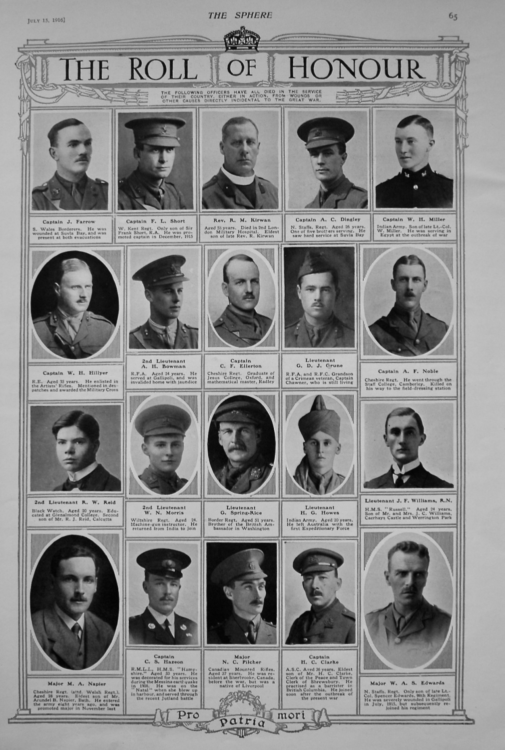 Roll of Honour. July 15th, 1916.