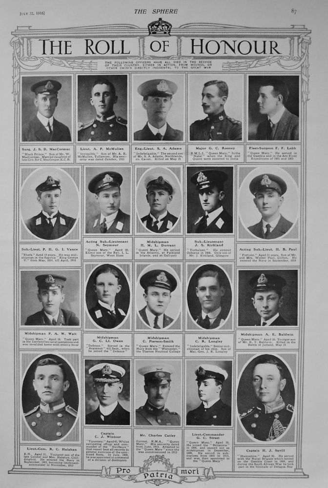 The Roll of Honour. July 22nd, 1916.