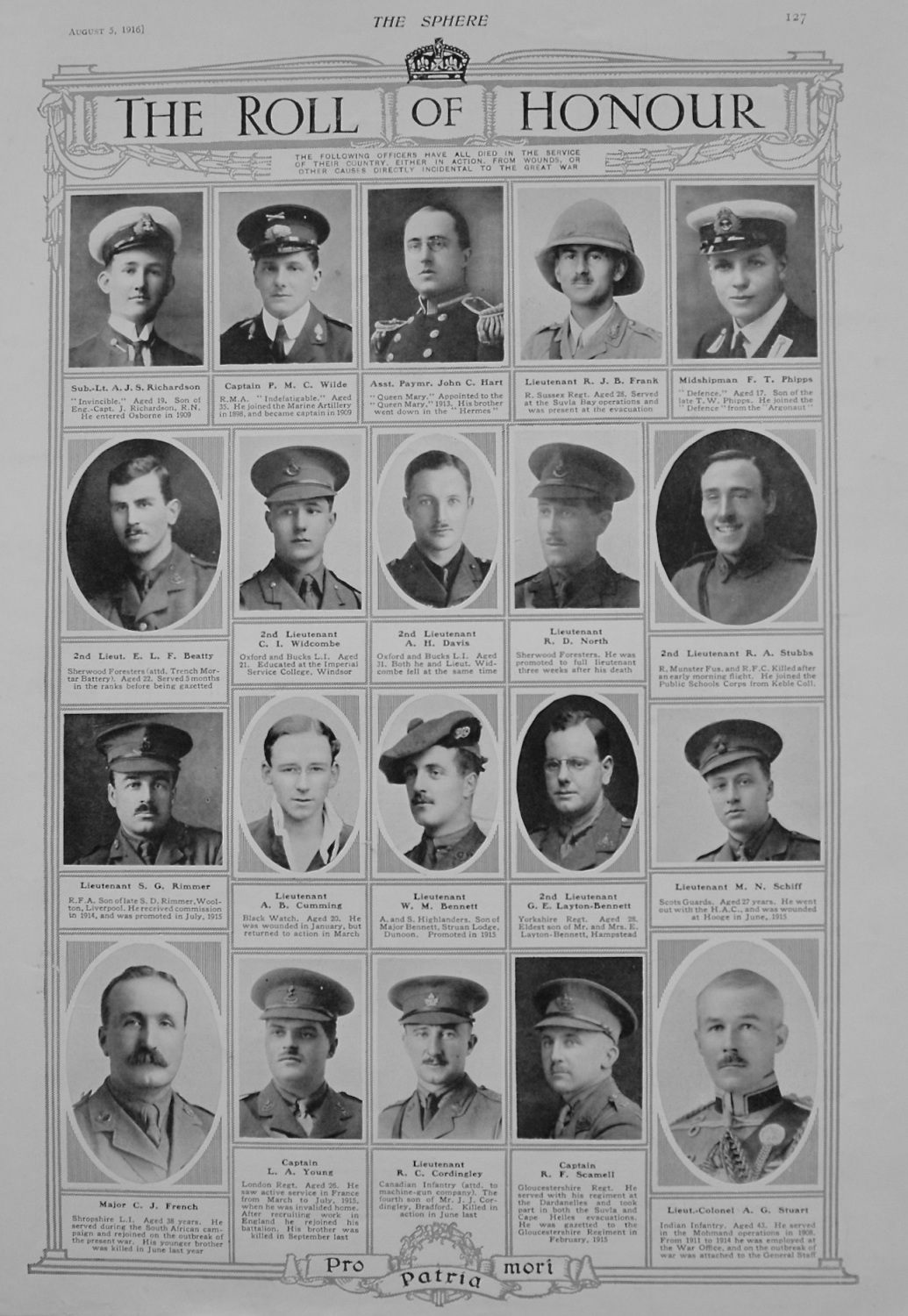 The Roll of Honour. August 5th, 1916.
