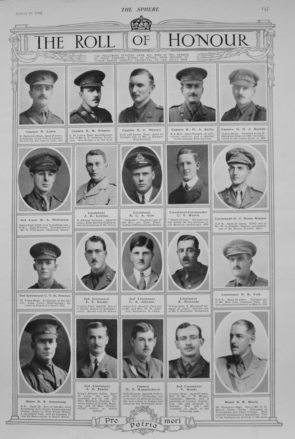 The Roll of Honour. August 12th 1916.