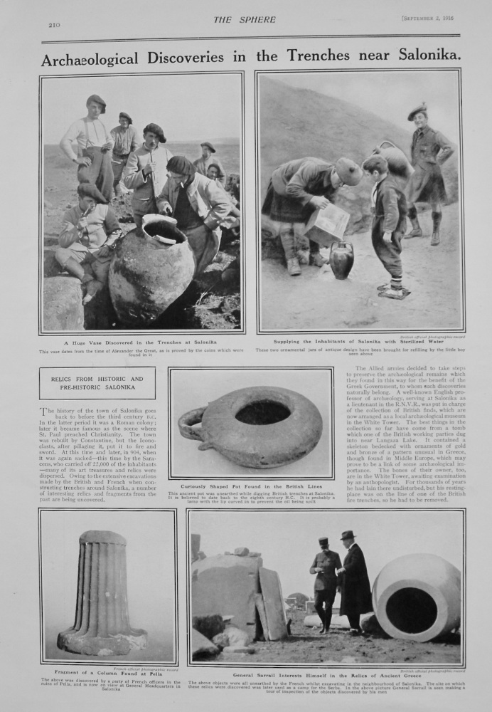 Achaeological Discoveries in the Trenches near Salonika. 1916