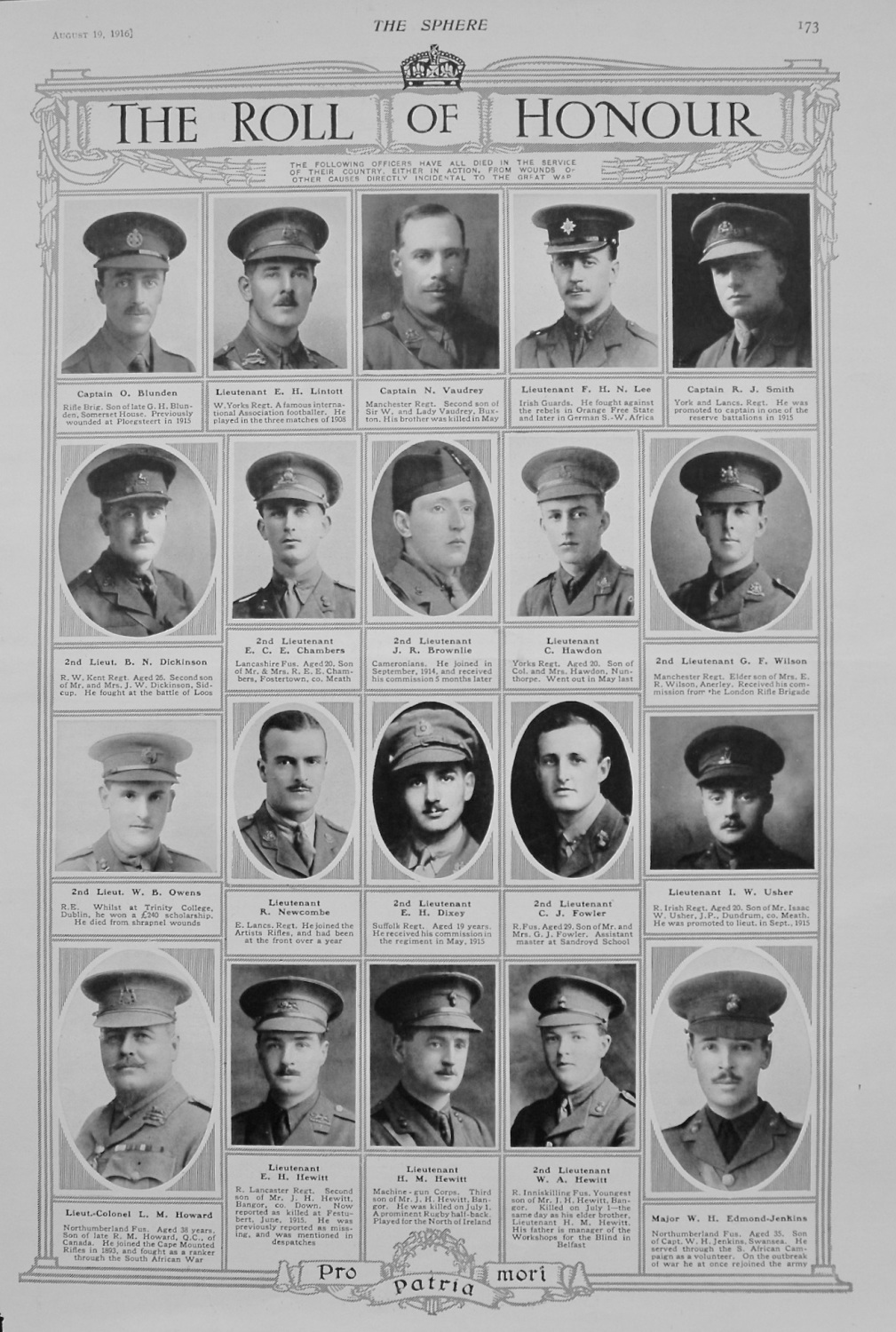 The Roll of Honour. August 19th, 1916.