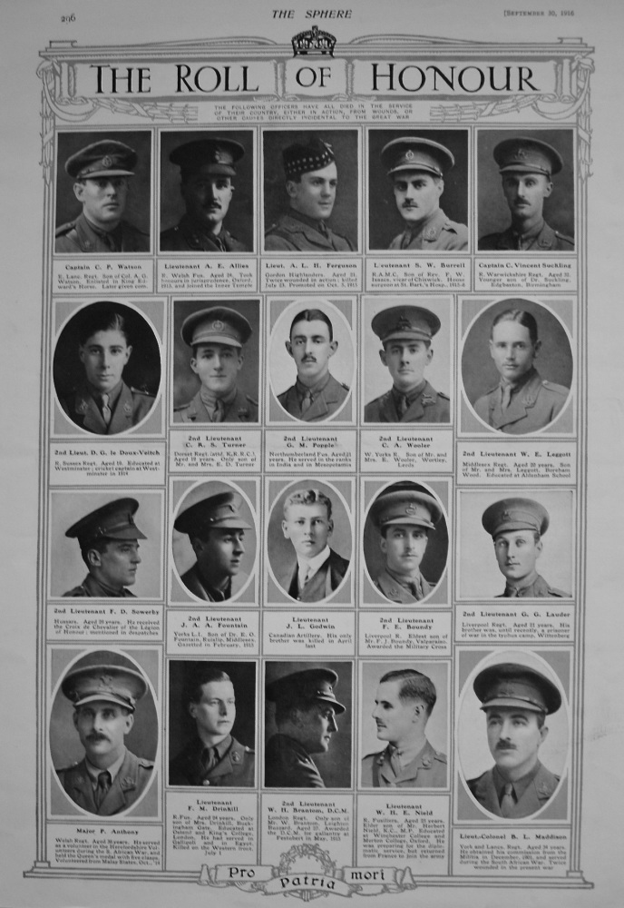 The Roll of Honour. September 30th, 1916.