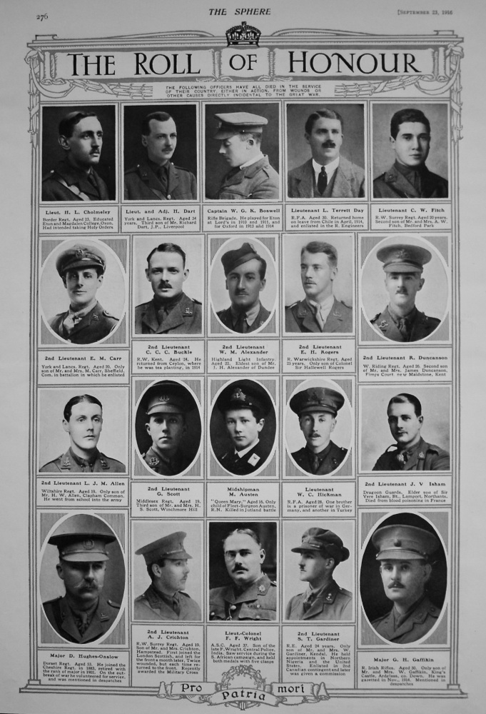 The Roll of Honour. September 23rd, 1916.