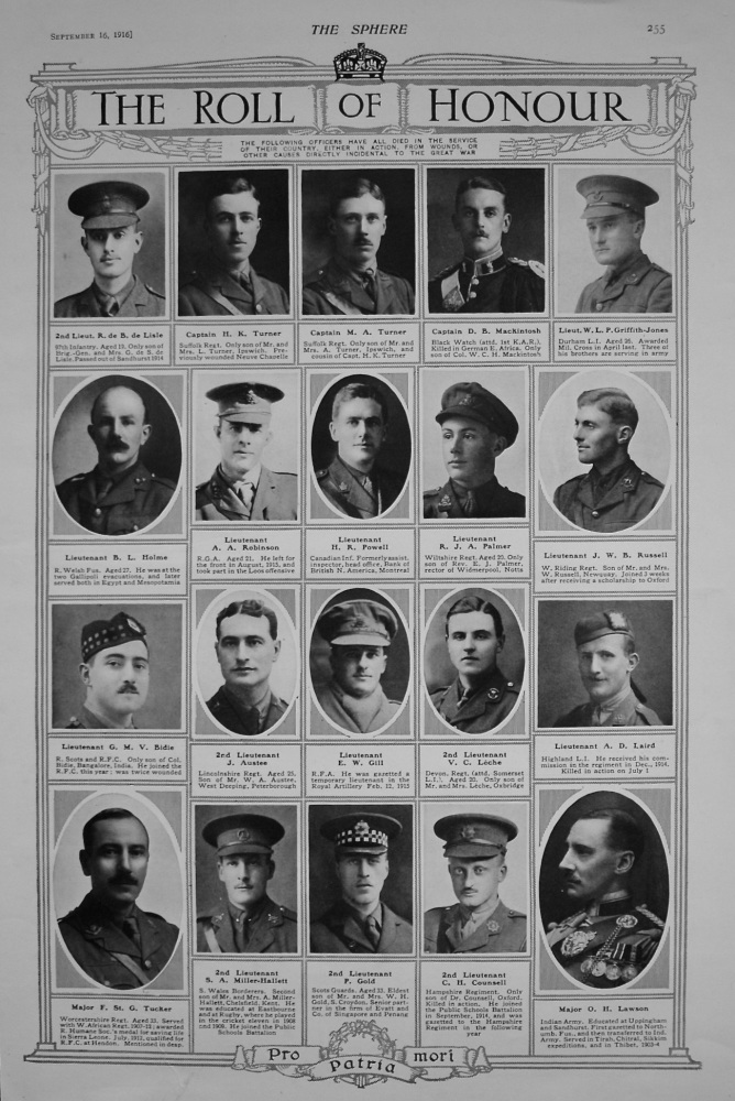 The Roll of Honour. September 16th, 1916.