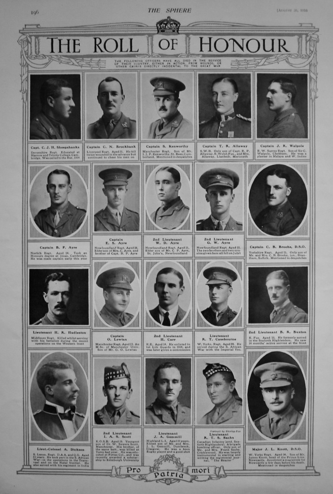 The Roll of Honour. August 26th, 1916.