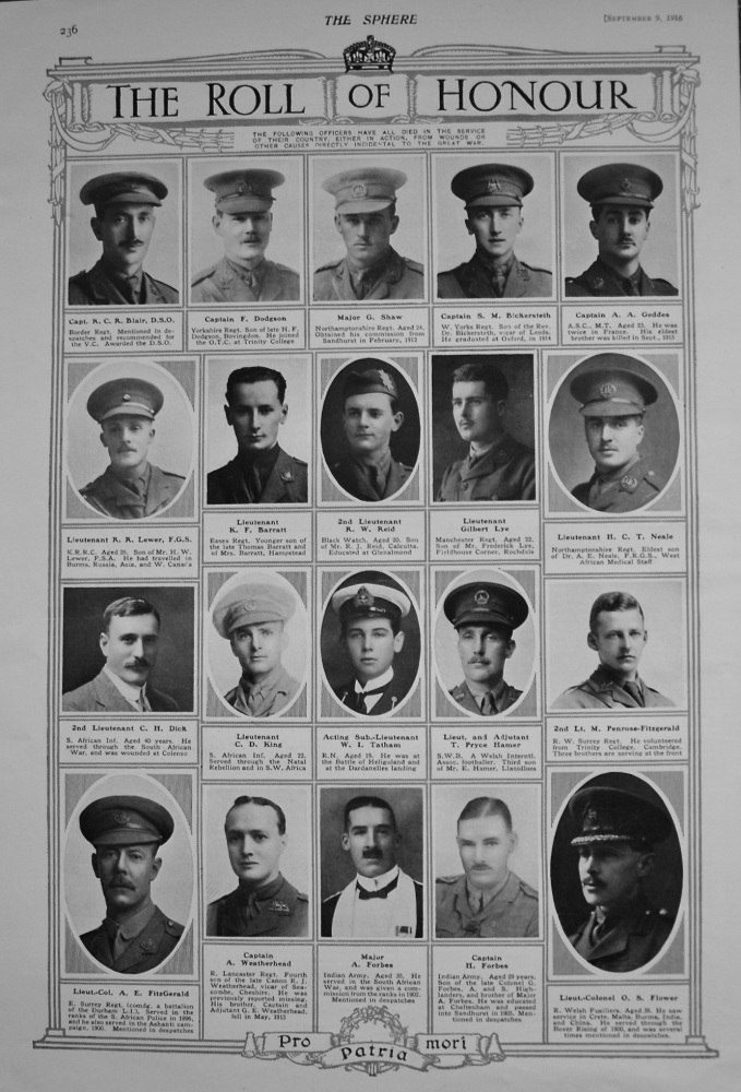 The Roll of Honour. September 9th, 1916.