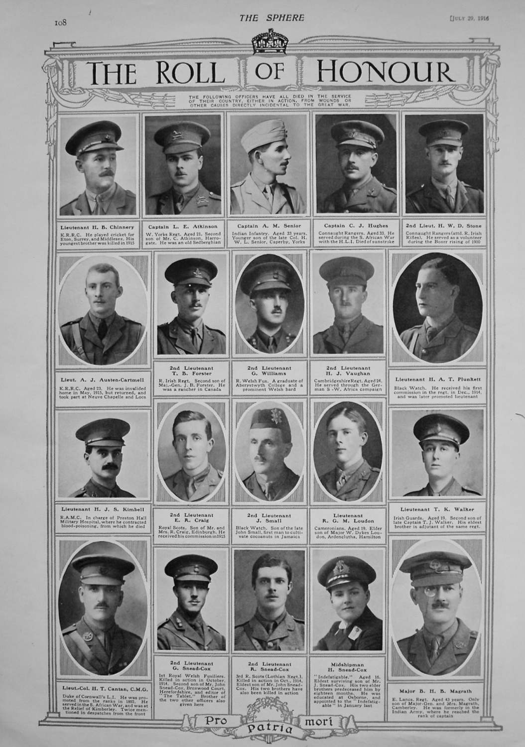 The Roll of Honour. July 29th, 1916.