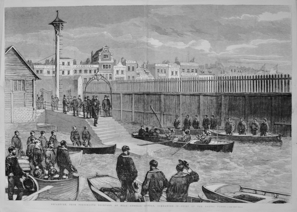 Departure, from Portsmouth Dockyard, of Rear-Admiral Dundas, Commander-in-Chief of the Baltic Fleet. 1855