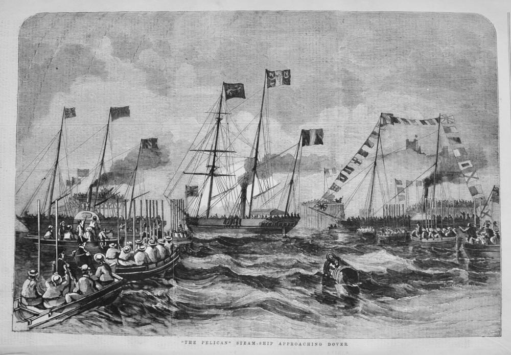 """'The Pelican"""" Steam-Ship Approaching Dover. 1855"""