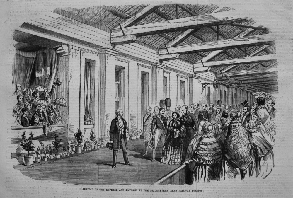 Arrival of the Emperor and Empress at the Bricklayers' Arms Railway Station. 1855