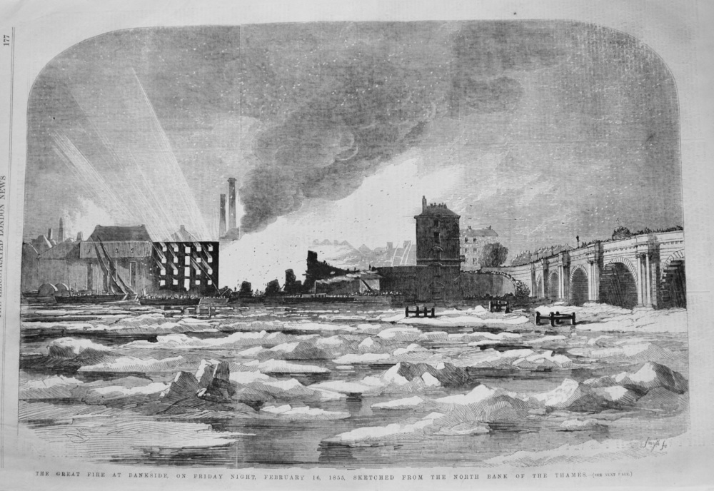 The Great Fire at Bankside, on Friday Night, February 16, 1855, Sketched from the North Bank of the Thames. 1855
