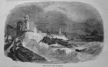 """Wreck of the """"Diana,"""" off Penzance. 1855"""