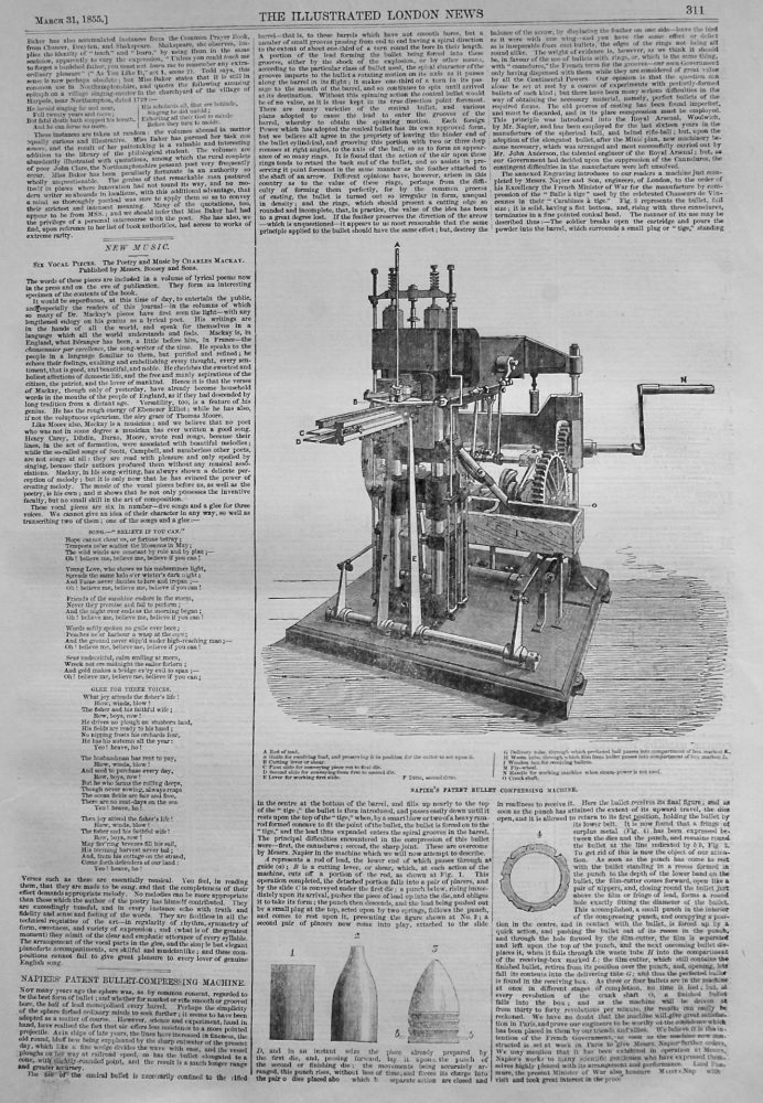 Napiers' Patent Bullet-Compressing Machine. 1855