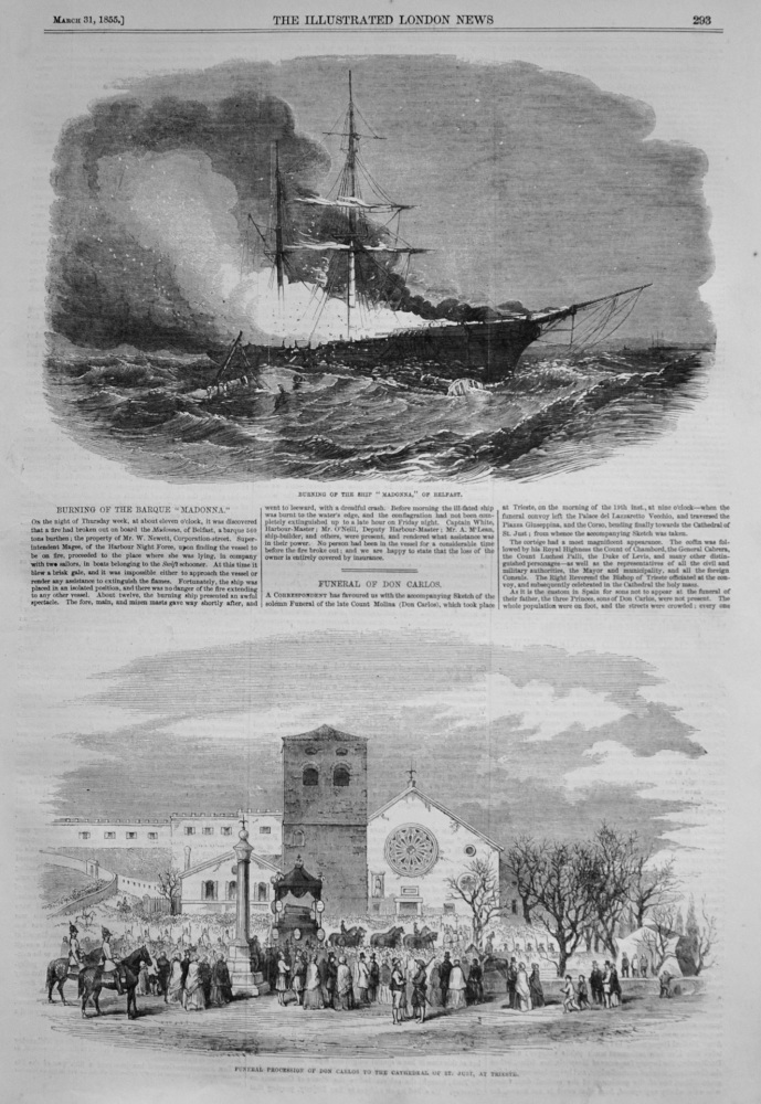 "Burning of the Barque ""Madonna."" 1855"