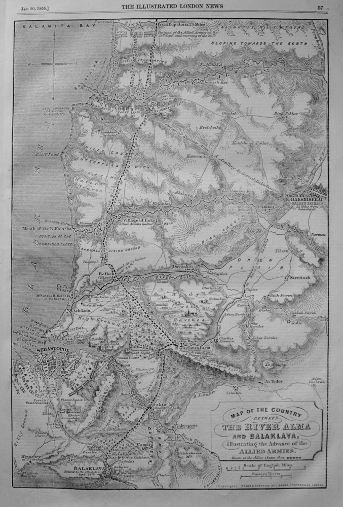 Map of the Country between The River Alma and Balaklava, illustrating the Advance of the Allied Armies. 1855