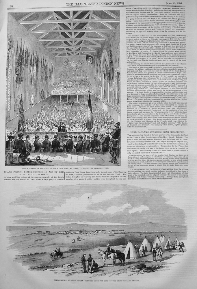 Grand French Demonstration, in Aid of the Patriotic Fund, at Dover. 1855
