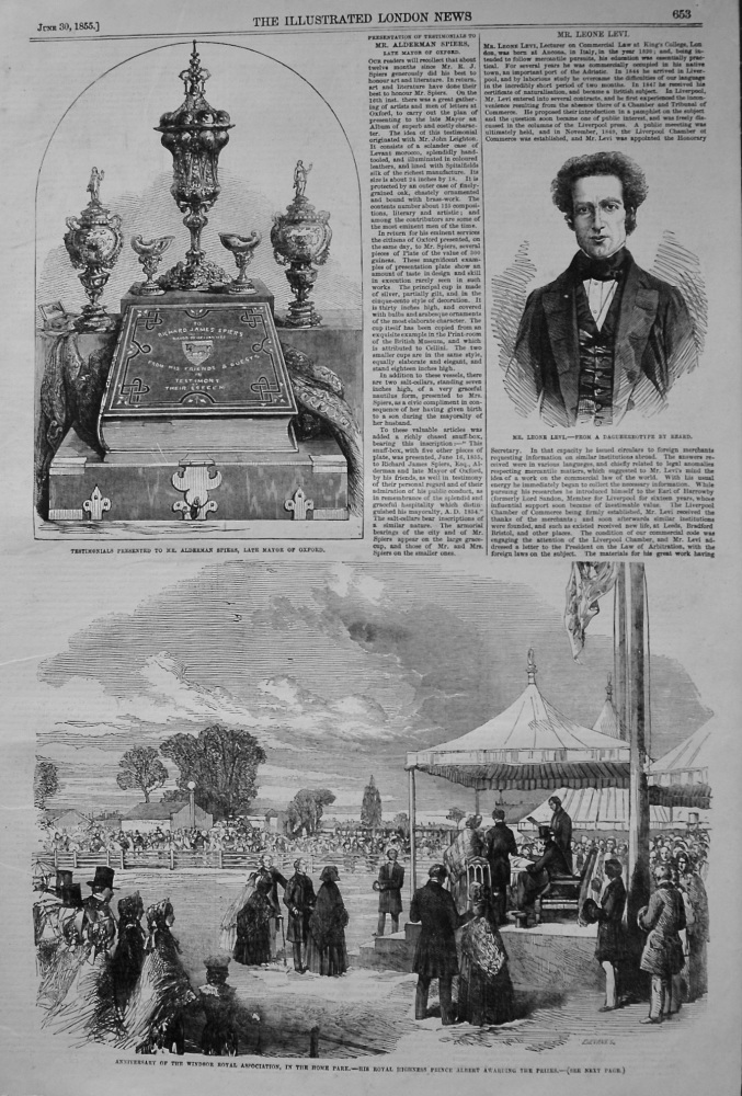 Anniversary of the Windsor Royal Association, in the Home Park.- His Royal Highness Prince Albert Awarding the Prizes. 1855