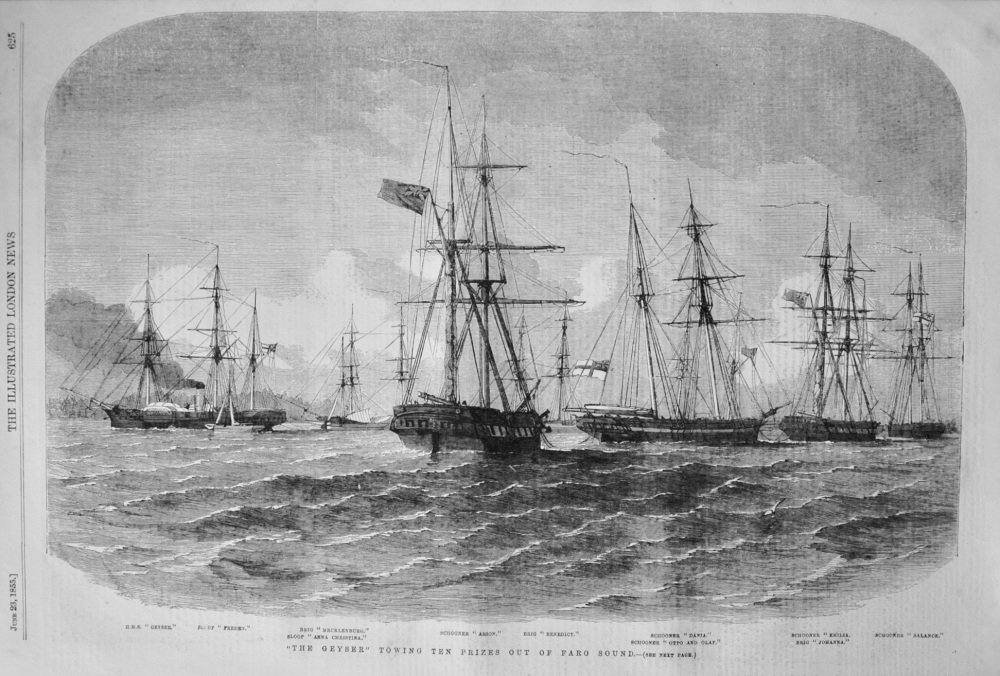 """""""The Geyser"""" Towing Ten Prizes out of Faro Sound. 1855"""