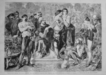 """Scene-Lawn before the Duke's Palace; Orlando about to Engage with Charles, The Duke's Wrestler.""- Painted by D. Maclise, R.A.-Exhibition of the Royal"