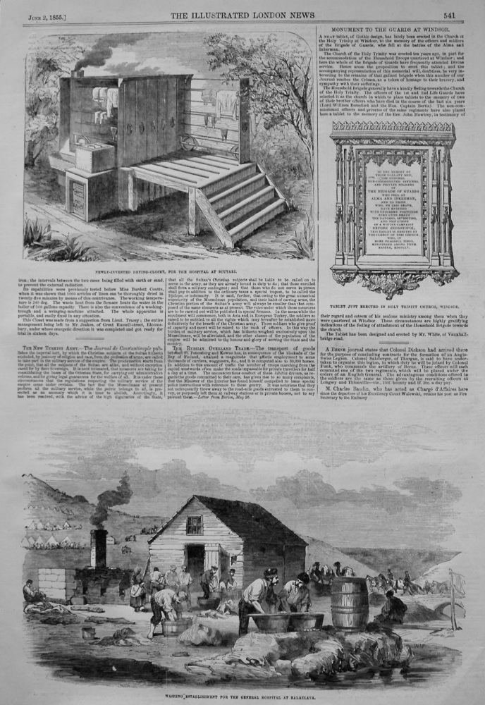 Newly-Invented Drying-Closet, for the Hospital at Scutari. 1855