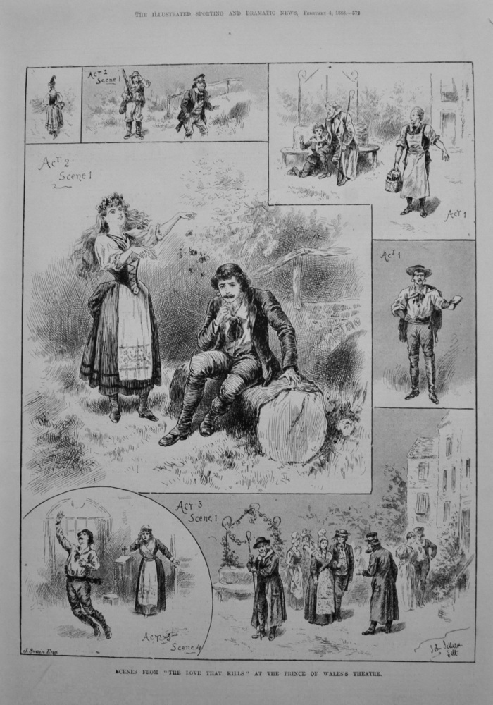 "Scenes from ""The Love That Kills"" at the Prince of Wales's Theatre. 1888"