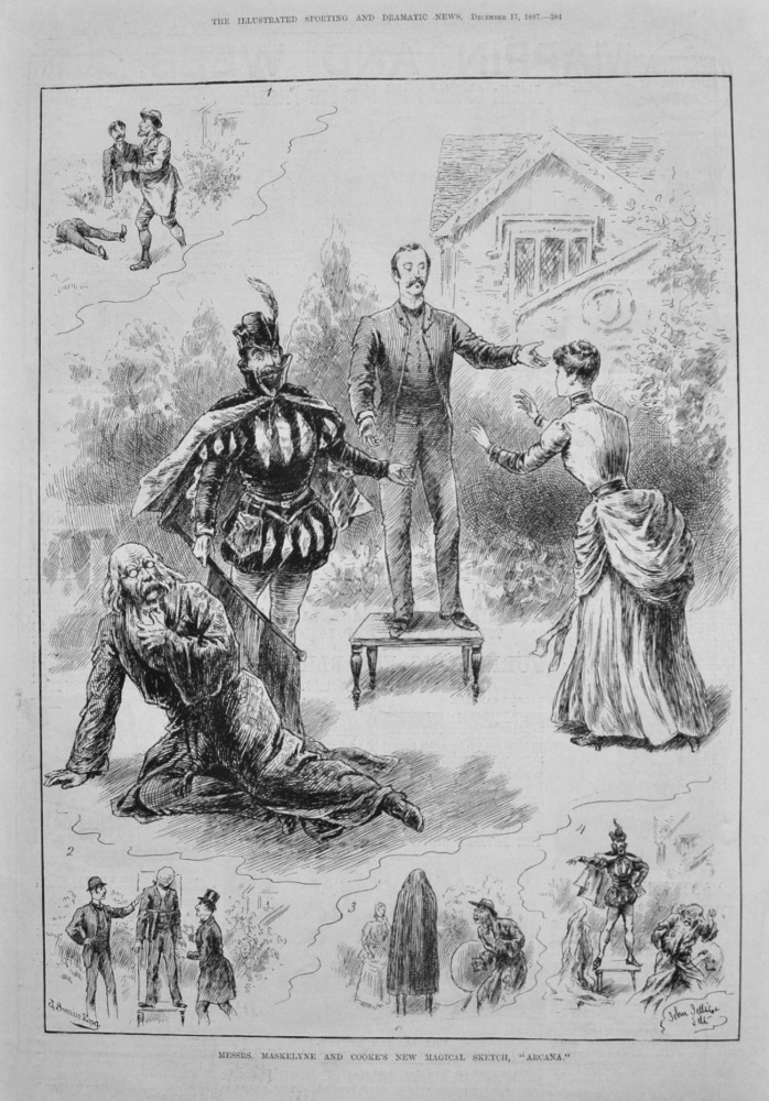 """Messrs. Maskelyne and Cooke's New Magical Sketch, """"Arcana."""" 1887"""