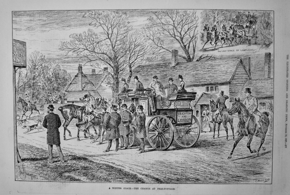 A Winter Coach.- The Change at Peas-Pottage. 1887