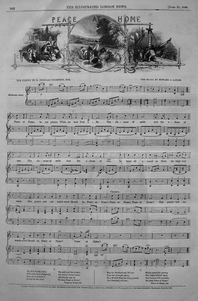 Peace at Home. (Sheet Music) 1848.