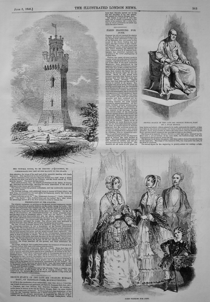 The Victoria Tower, to be erected at Guernsey, to Commemorate the visit of Her Majesty to the Island. 1848