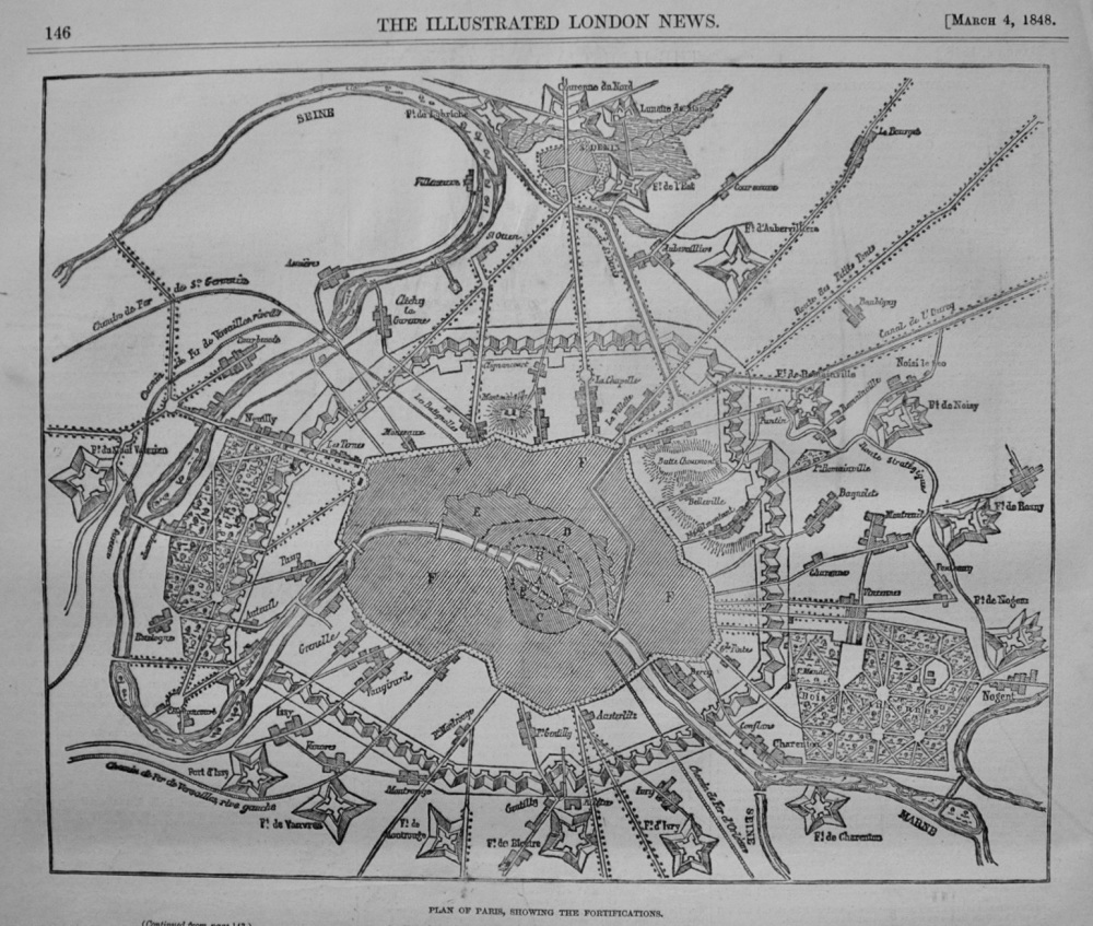 Plan of Paris, showing the Fortifications. 1848