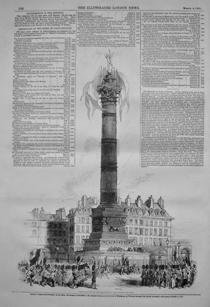 Proclamation of the Republic, at the Column of July. 1848