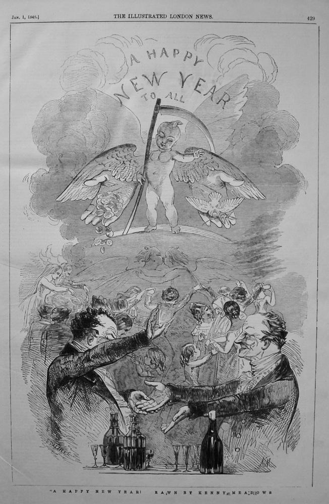 """A Happy New Year!"" Drawn by Kenny Meadows. 1848"