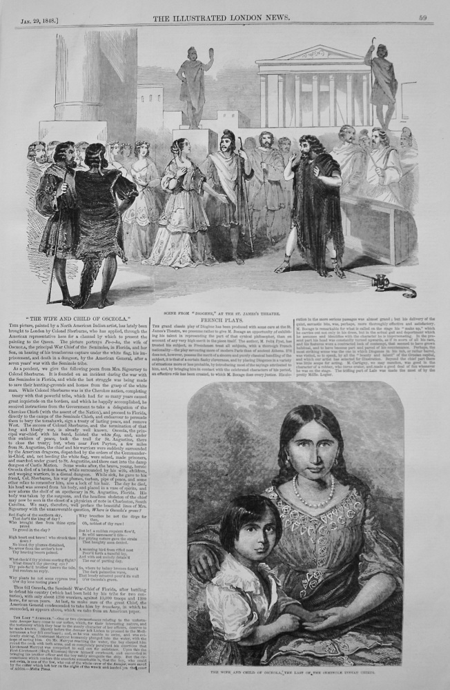 """The Wife and Child of Osceola."" 1848"