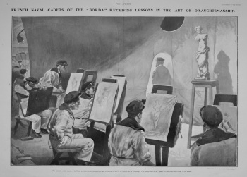 "French Naval Cadets of the ""Borda"" Receiving Lessons in the Art of Draughtsmanship. 1903"
