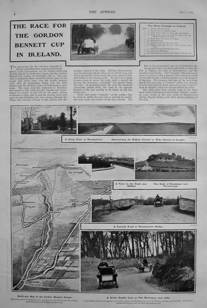 The Race for the Gordon Bennett Cup in Ireland. 1903