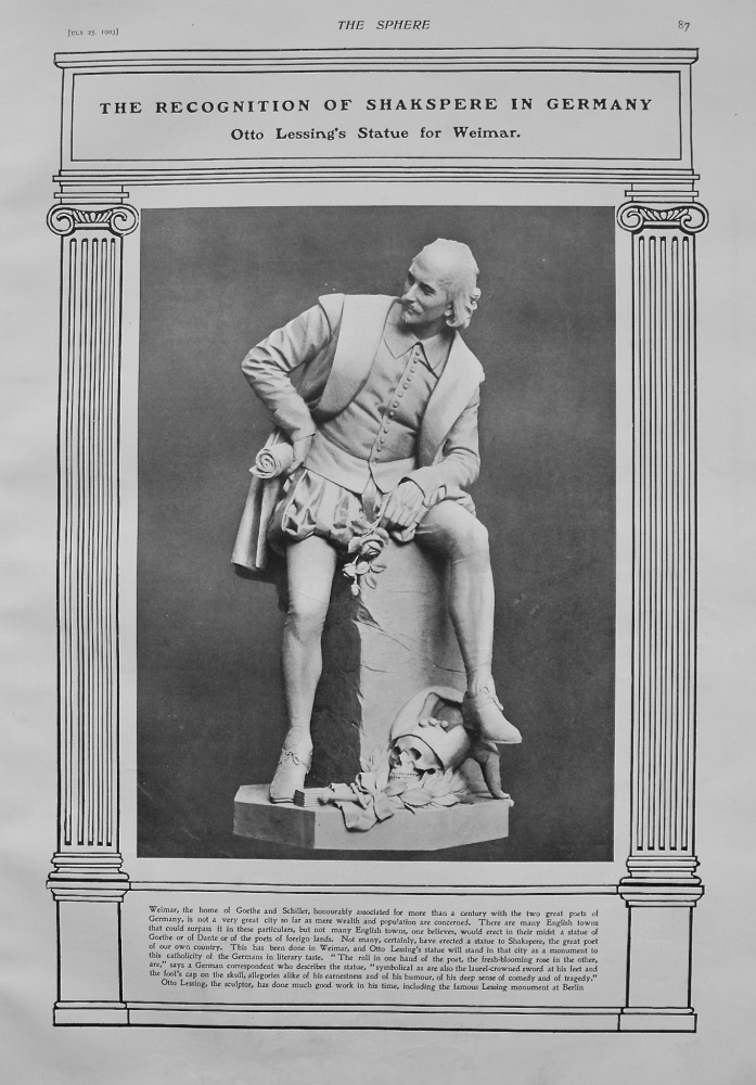 The Recognition of Shakspere in Germany : Otto Lessing's Statue for Weimar. 1903