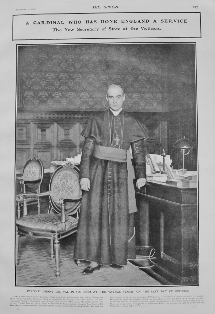 A Cardinal who has done England a Service : The New Secretary of State at the Vatican. (Cardinal Merry Del Val) 1903.