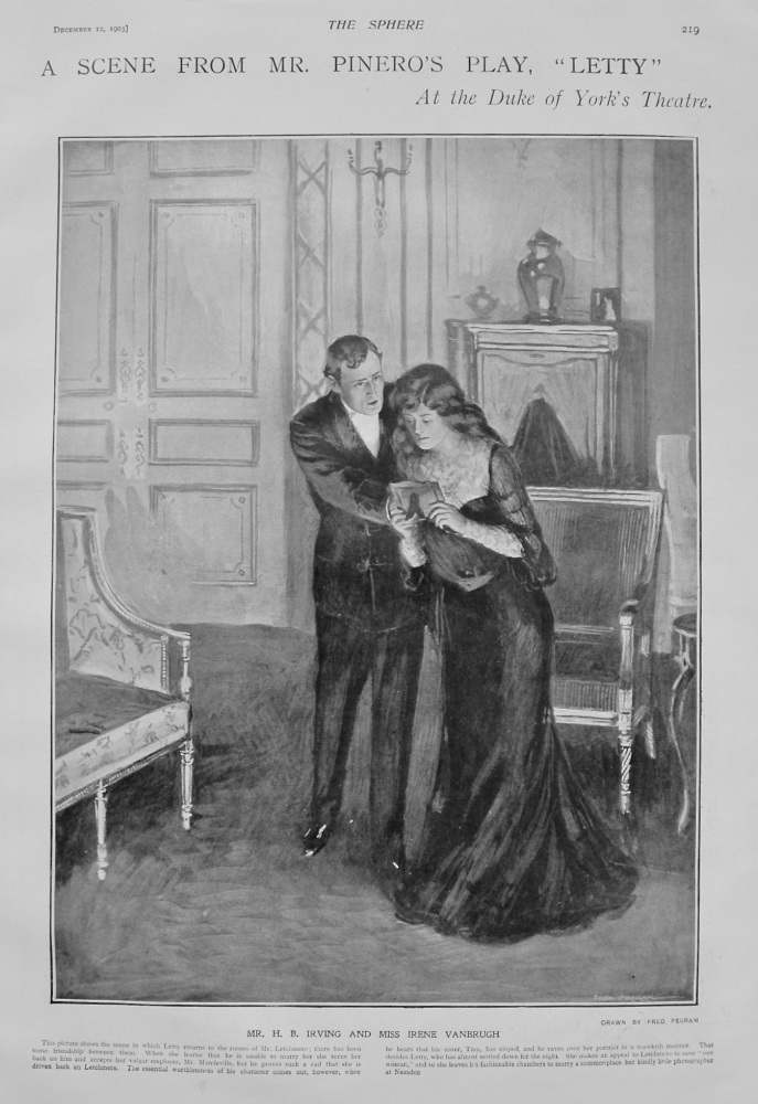 "A Scene from Mr. Pinero's Play, ""Letty"" at the Duke of York's Theatre. 1903"